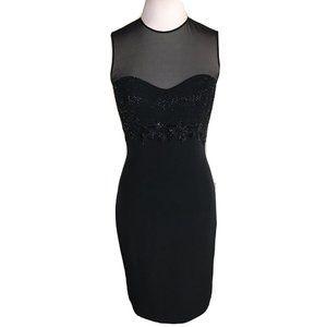 OLEG CASSINI BLACKTIE Triacetate Blend Mesh Dress